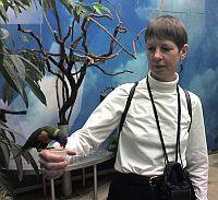 Lorie eats out of my hand at the National Aviary, Pittsburgh