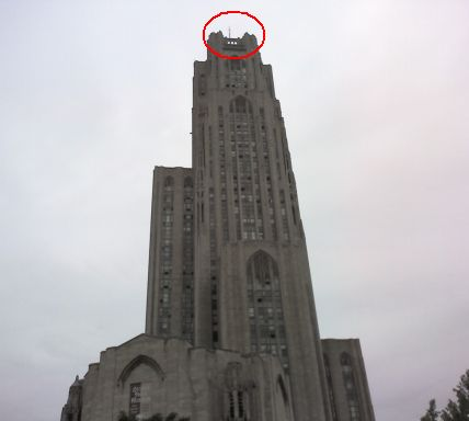 Where to look for peregrines on the Cathedral of Learning (photo by Kate St. John)