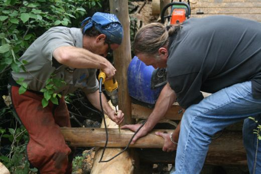Friends of Acadia volunteers build a trail bridge (photo courtesy Friends of Acadia)