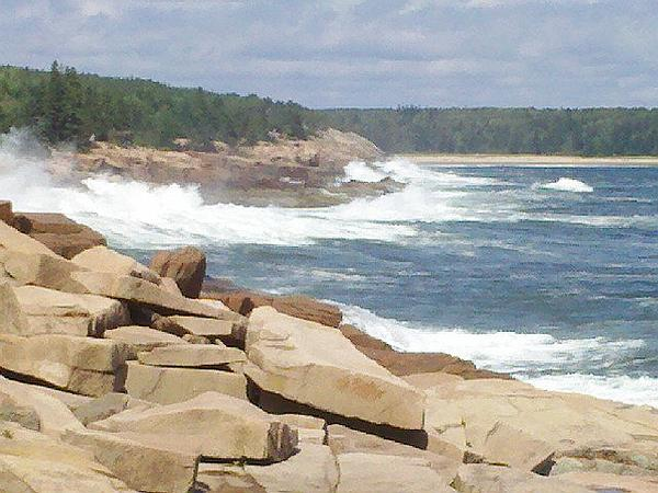 Waves crashing at Acadia National Park (poor photo by Kate St. John)