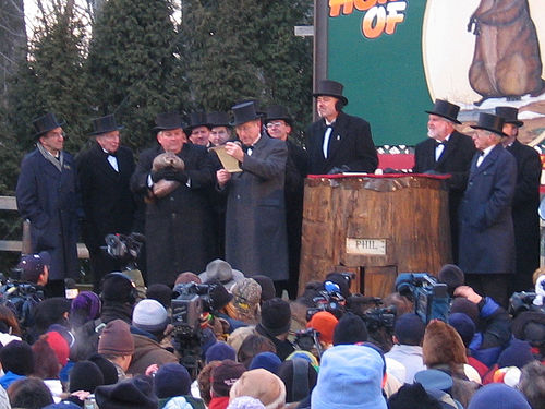Groundhog Day 2005 (photo by Aaron Silvers, Wikipedia, Creative Commons license)