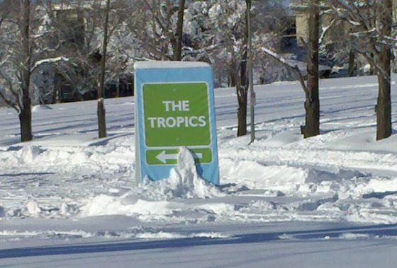 The Tropics sign at Phipps Conservatory, Feb 6, 2010 (photo by Kate St. John).