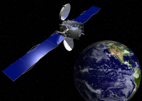 Artist's rendition of AMC-21 satellite (from Orbital Sciences Corporation news room)