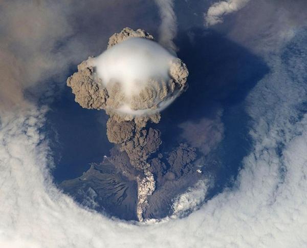 Sarychev Volcano, Matua Island, 12 June 2009 (photo from the International Space Station, NASA, via Wikimedia Commons)