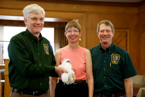 Dan Brauning (holding neslting), Kate St. John and Art McMorris at peregrine banding at the Cathedral of Learning, 17 May 2013 (photo by B. Rose Huber/University of Pittsburgh)