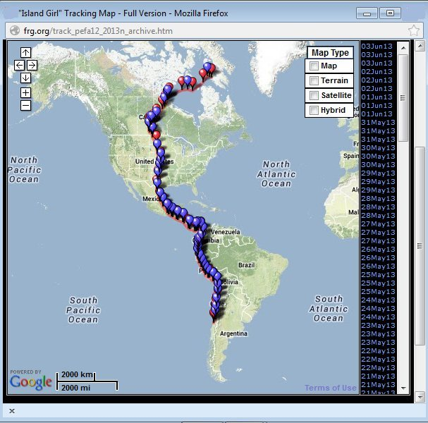 Screen shot of Island Girl's migration tracking map, Spring 2013 (from Southern Cross Peregrine Project)