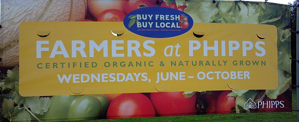 Sign for Farmers Market at Phipps (photo by Kate St. John)