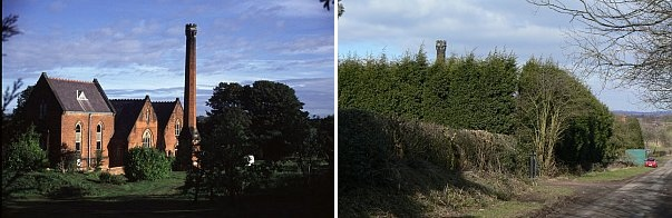 Snarestone pumping station before and after Leylandii, 1994 & 2010 (photos from Wikimedia Commons)