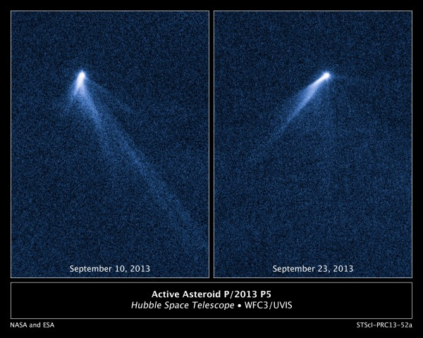 Asteroid P/2013 P5 as seen on two days in September 2013 from the Hubble Space Telescope (photos courtesy of NASA)