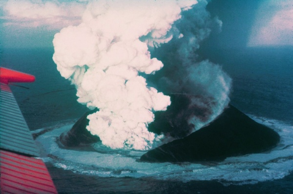 Island of Surtsey erupting (photo from Wikimedia Commons)