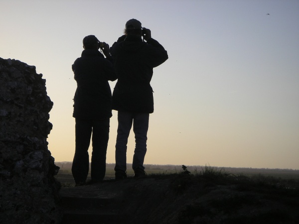 Birders at Burgh Castle (photo by Glen Scott, Creative Commons license via Flickr)