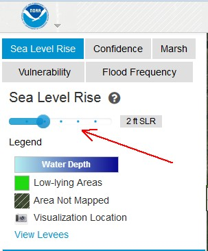 Map Controls screenshot, Sea Level Rise mapping tool (screenshot from NOAA Climate tool)