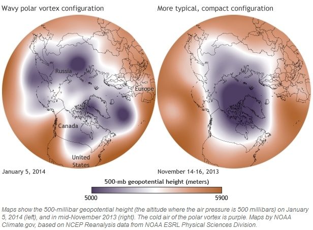 Polar vorrtex 500mb pressure comparison: Jan 5, 2014 to Nov 14-16, 2013 (maps by NOAA climate.gov)