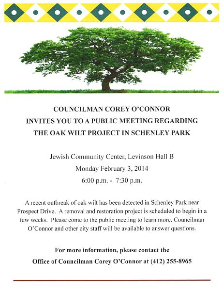 Schenley Park Oak Wilt meeting, 3 Feb 2014, 6:00pm