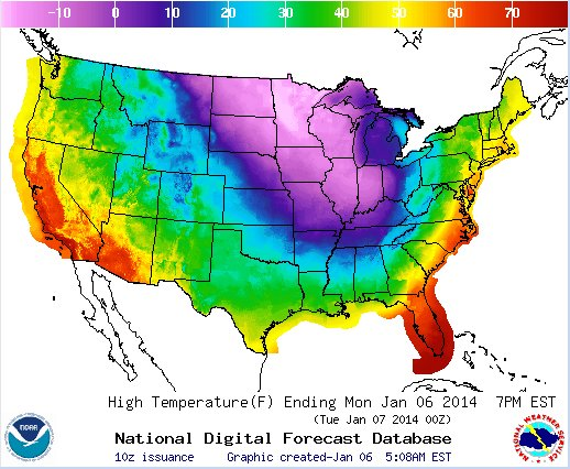 U.S. maximum temperature map for January 6, 2014 (graphic from NOAA)
