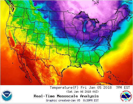 Temperature map of the continental US, 6 Jan 2018 (from NOAA NWS)