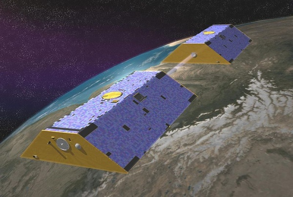 GRACE satellite pair (drawing from NASA on Wikimedia Commons)