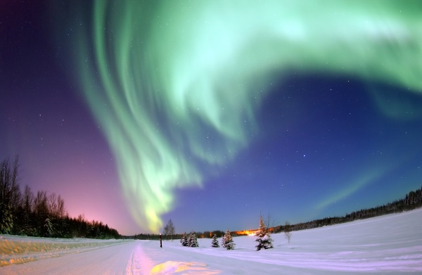 Aurora borealis over Bear Lake, Alaska (photo from Wikimedia Commons)