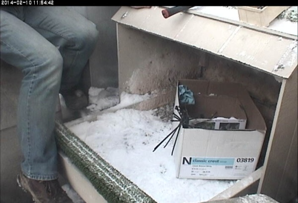 Installation of streaming falconcam at Cathedral of Learning (photo from the National Aviary snapshot camera)