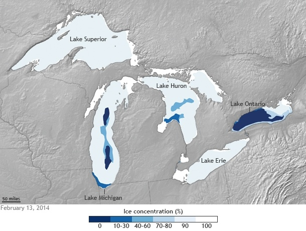 Great Lakes 88% frozen (Map by NOAA Climate.gov, based on data provided by the U.S. Naval Ice Center)