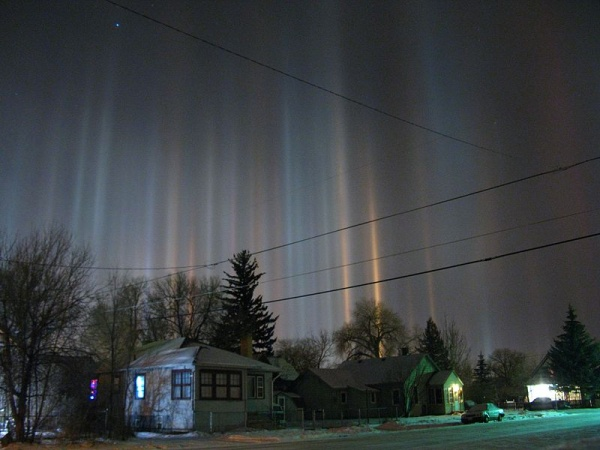 Light pillars in Laramie, Wyoming (photo from Wikimedia Commons, Creative Commons license)