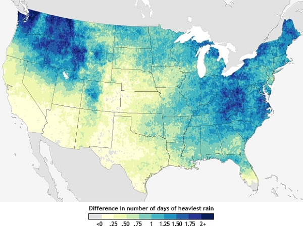 Map predicting change in downpour frequency, 2040-2070 (map from NOAA Climate.gov)