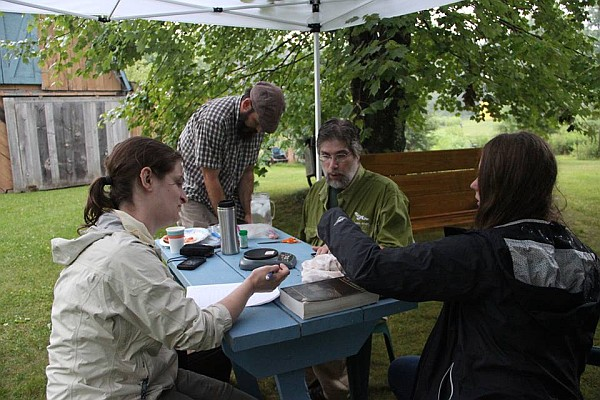 Banding Day at Marcy Cunkelman's, 19 July 2014, Amy, Matt, Bob, Becca (photo by Marcy Cunkelman)