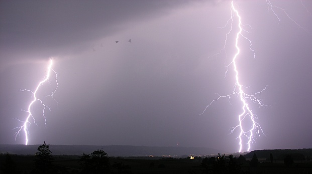Lightning over Schaffhausen and Kohlfirst (photo by Hansueli Krapf via Wikimedia Commons)
