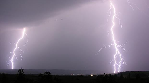 Lightning over Schaffhausen and Kohlfirst (photo by Hansueli Krapf via Wikimedia Commons)