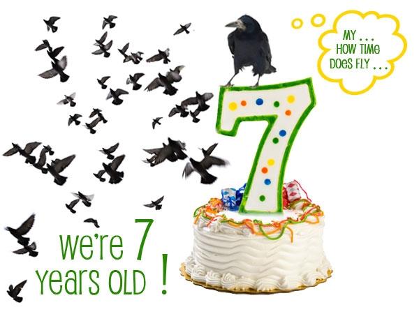 Bird blog's 7th Birthday Cake (graphic by Joan Guerin)