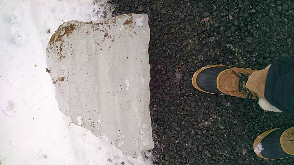 Chunk of fallen icicle for size comparison (photo by Kate St. John)