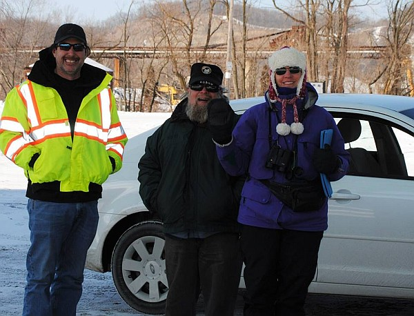 PennDOT bridge worker + Rob Protz + Kate St. John (photo by Marge Van Tassel)