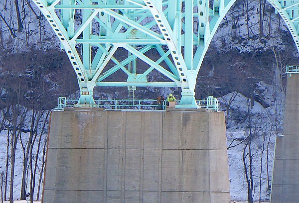 PGC's Tom Keller and  PennDOT worker installing nestbox on Tarentum Bridge (photo by Kate St. John)
