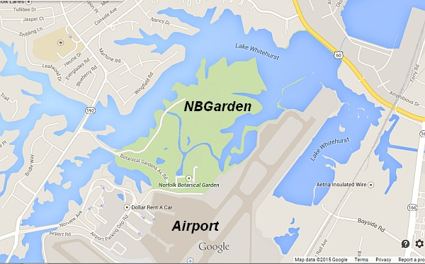 Proximity: Norfolk Botanical Garden, Norfolk International Airport (screenshot from Google Maps. Click on this image to see the map)