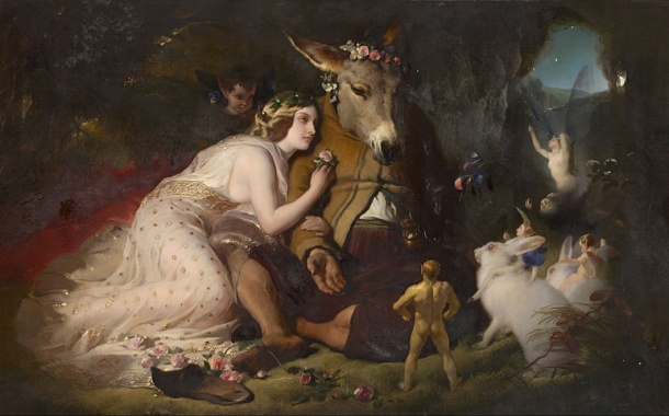 Scene from A Midsummer Night's Dream. Titania and Bottom, by Edwin Lanseer (image from Wikimedia Commons)