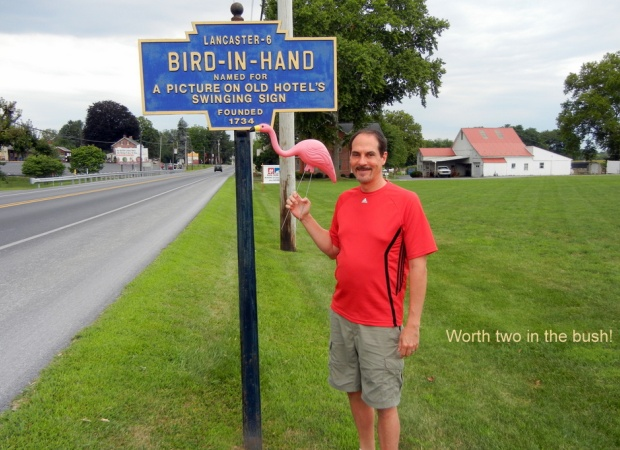 Jonathan Nadle with bird in hand at Bird In Hand, PA (photo by Lori Nadle)