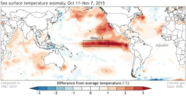 Seas surface temperature anomaly, Oct 11 - Nov 7, 2015 (image from climate.gov)
