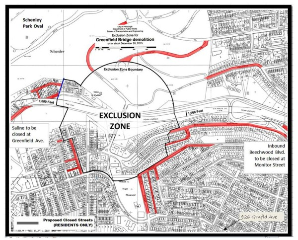 Map of the Exclusion Zone around the implosion (distributed by City of Pittsburgh)