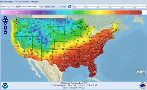 High Temperatures Forecast for contiguous U.S., 24 Dec 2015 (map from National Weather Service)