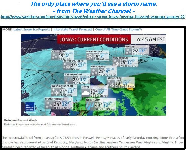 screenshot from winter storm newson The Weather Channel, 23 Jan 2016. Click on the image to read the story.