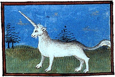 Unicorn in the Book of the properties of Bartholomew the Englishman, early fifteenth century (illustration from Wikimedia Commons)