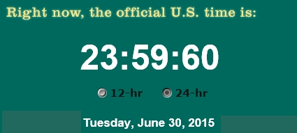 Leap Second on June 30, 2015 (image from Wikimedia Commons)
