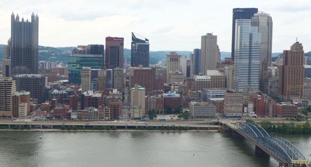 View of Downtown Pittsburgh from Mt.Washington, June 2016 (photo by Kate St.John)
