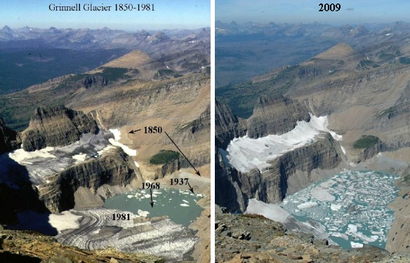 Grinnell Glacier, before and after, 1981 and 2009 (photos from Wikimedia Commons)