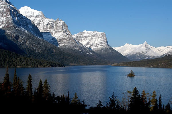 Saint Mary Lake at Glacier National Park (photo by NPS via Wikimedia Commons)