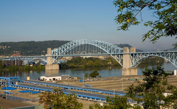 McKees Rocks Bridge with ALCOSAN in foreground (photo from Wikimedia Commons)