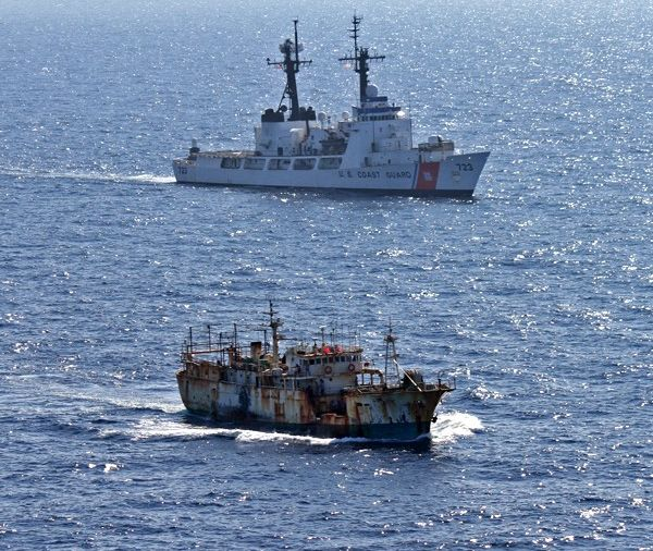 Coast Guard Cutter Rush escorts the suspected high seas drift net fishing vessel Da Cheng in the North Pacific Ocean on August 14, 2012. (photo credit: U.S. Coast Guard)