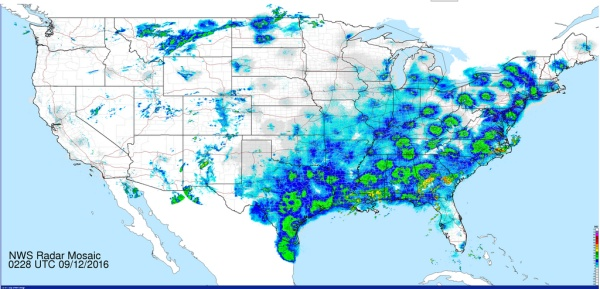 A good night for migration in the eastern U.S. (radar mosaic from NWS, 11 Sep 2016, 22:28 EDT)