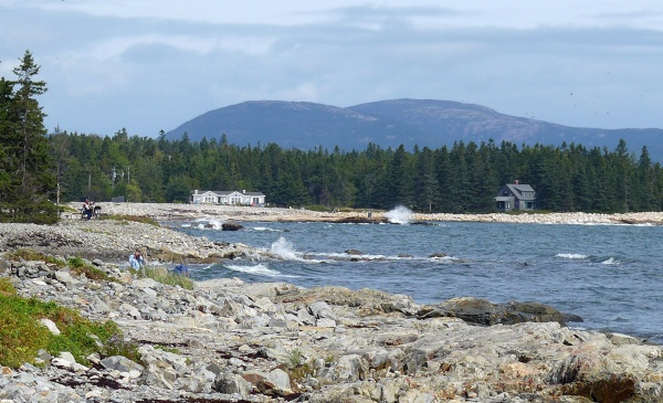 The deserted mountains of Mount Desert Island: Sargent and Cadillac as seen from Seawall, September 2014 (photo by Kate St. John)