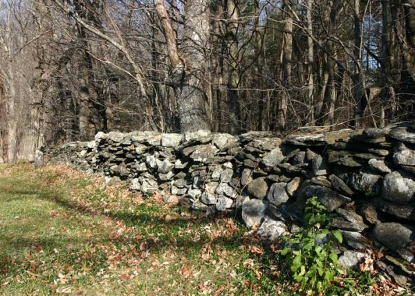 Stone wall (located in Vermont, photo from Wikimedia Commons)